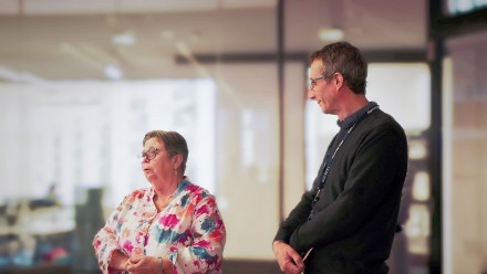 Dianne Garner, Director of the Bootes Foundation, and Graham Mann, Director of JCSMR, at the Bootes Foundation morning tea